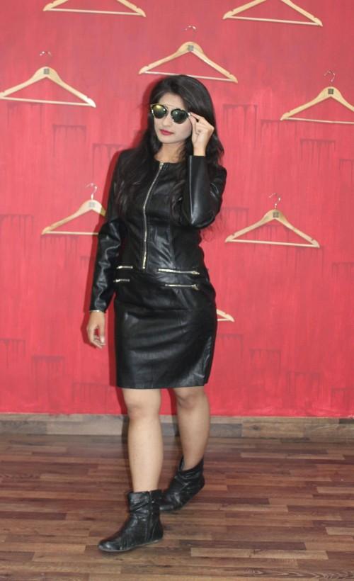 Black leather full sleeve zip dress.. INDIAN sites only plz.. tia - SeenIt
