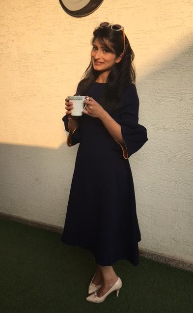 This cute navy blue bell sleeves dress was worn by Sonam Kapoor too.. I want a similar one - SeenIt