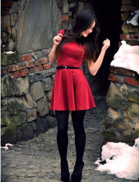 need these black stockings with a red skater dress - SeenIt
