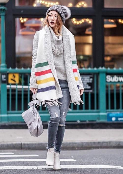 looking for similar multi color striped white long muffler with a grey beanie and grey ripped super skinny denims and white hi top sneakers - SeenIt