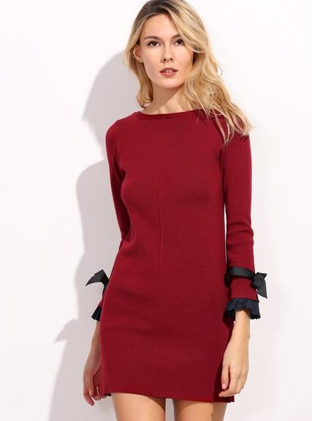 want a similar red full sleeve fitted dress with black bow style on the sleeves - SeenIt