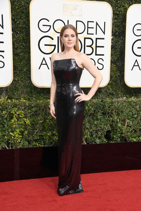 Amy Adams in a black sequin Tom Ford gown at the Golden Globe Awards 2017. - SeenIt