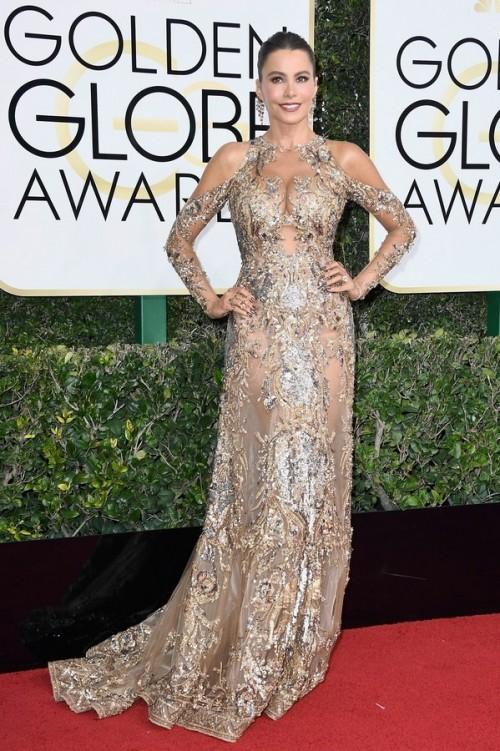 Sofia Vergara in Zuhair Murad sheer embellished gown at the Golden Globe Awards 2017. - SeenIt