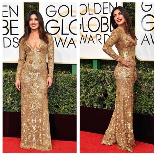 Priyanka Chopra slays in Ralph Lauren golden embellished gown at the Golden Globe Awards 2017. - SeenIt