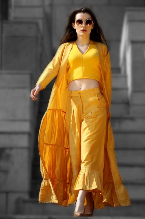 All yellow outfit!! crop top, culottes and maxi shrug - SeenIt