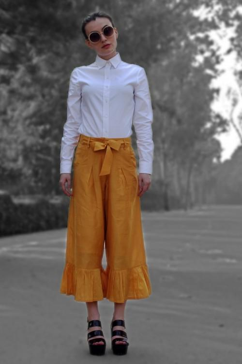 Want this yellow culottes with ruffles at the hem.. - SeenIt