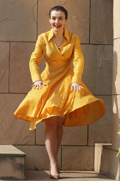 Want this yellow full sleeves flared wrap dress.. - SeenIt