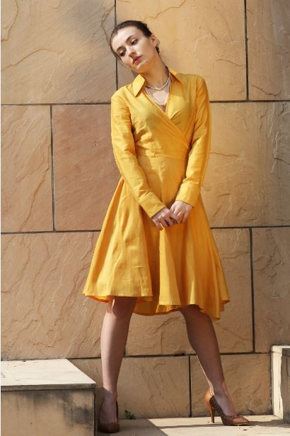 Exactly the same yellow full sleeves flared wrap dress - SeenIt