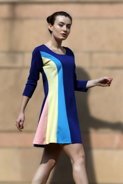 Help me find exactly the same blue,yellow and pink color block flared dress online :) - SeenIt