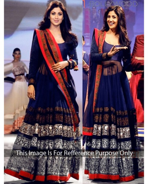 Anyone seen this blue anarkali lehenga at any shop or boutique anywhere in Kolkata? - SeenIt