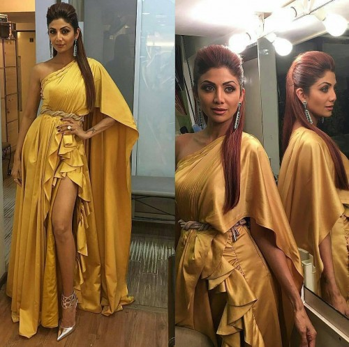 Shilpa Shetty in Manish Malhotra yellow one shoulder ruffled gown at the Filmfare Awards 2017. - SeenIt