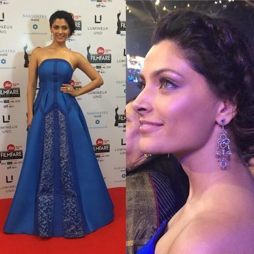 Saiyami Kher in blue strapless Amit Aggarwal gown at the Filmfare Awards 2017. - SeenIt