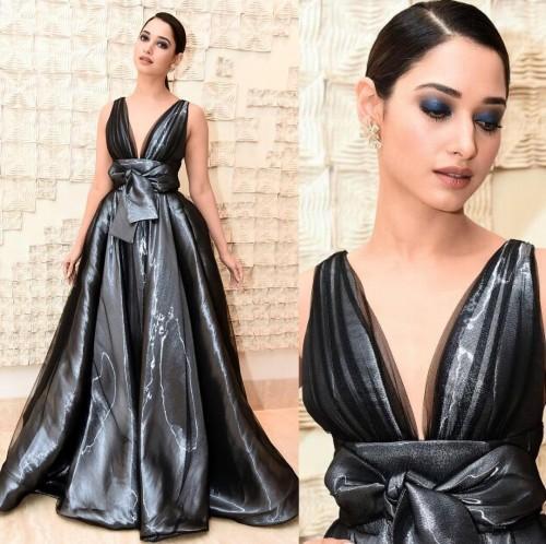 Tamannah Bhatia sizzled in black metallic Peter Lagner gown at the Filmfare Awards 2017. - SeenIt