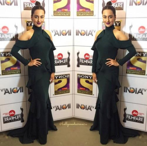 Sonakshi in black cold shoulder ruffled gown by Gauri and Nainika at the Filmfare Awards 2017. - SeenIt