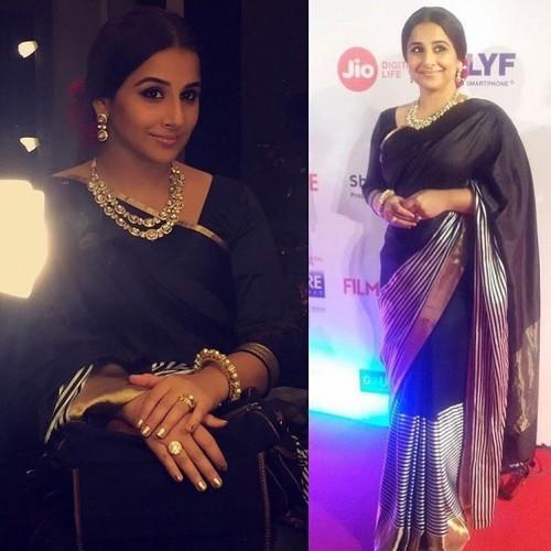 Vidya Balan gracefully carried this Raw Mango black striped saree at the Filmfare Awards 2017. - SeenIt