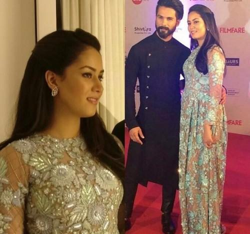 Mira Rajput was spotted in a nude and mint green embellished gown at the Filmfare Awards 2017. - SeenIt