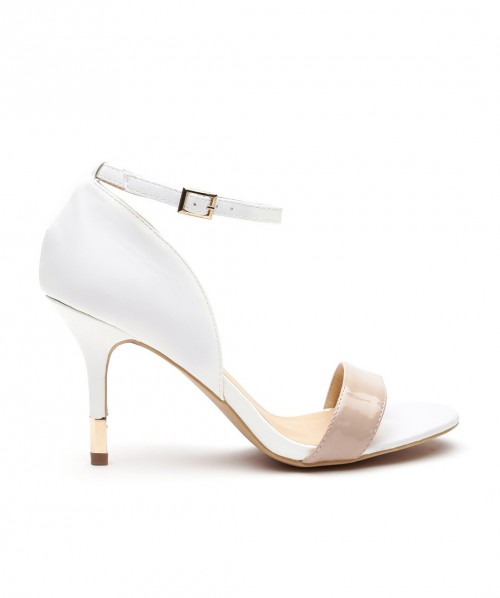 want similar white and beige open toed ankle strap heels - SeenIt
