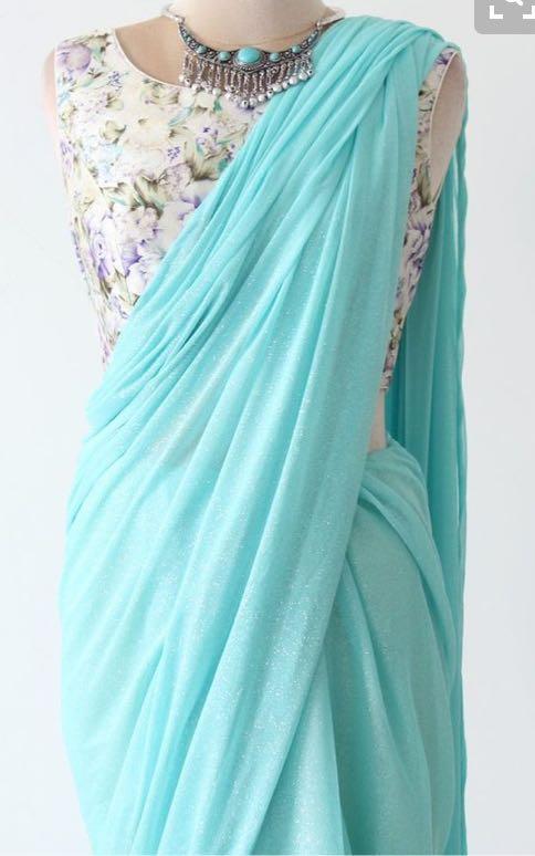 need a similar sky blue plain saree with printed blouse - SeenIt