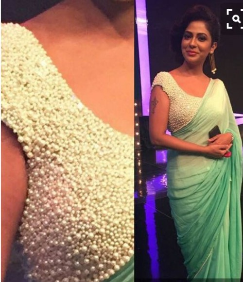 need a similar white pearl studded ethnic saree blouse - SeenIt