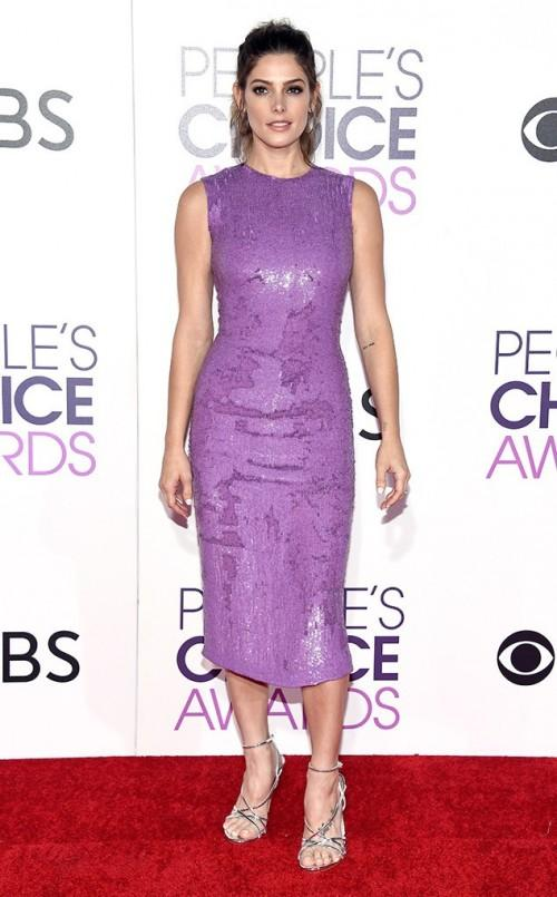 Ashley in purple sequin midi dress paired with silver heels at the People's Choice Awards 2017. - SeenIt