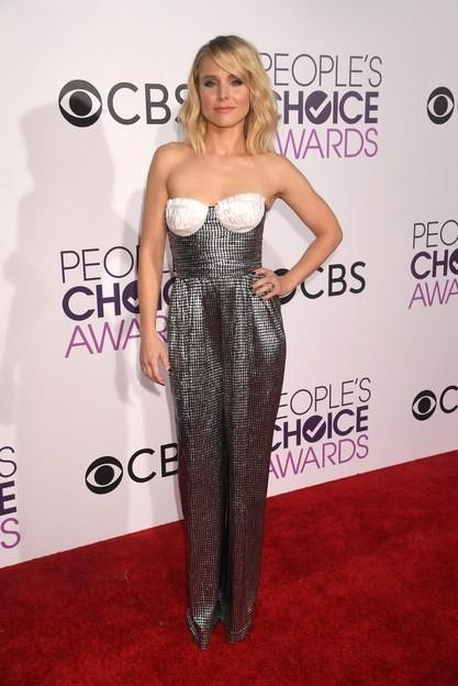Kristen Bell in Rasario black and white strapless jumpsuit at the People's Choice Awards 2017. - SeenIt