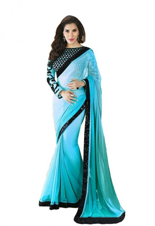 want this blue and black border saree but not from craftsvilla - SeenIt
