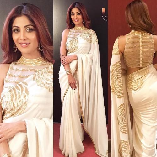 Shilpa Shetty in Mayyur Girotra beautiful off white embellished saree at the Umang Awards 2017. - SeenIt
