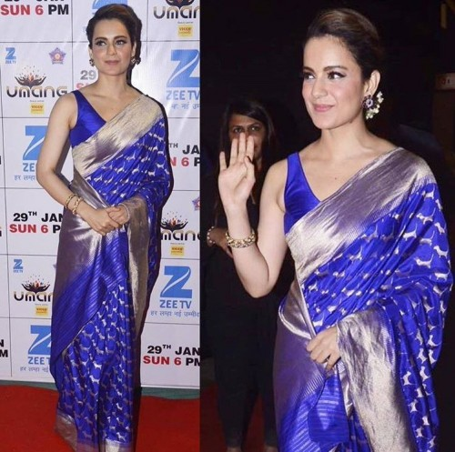 Kangana glazed in a blue silk saree at the Umang Awards 2017. - SeenIt