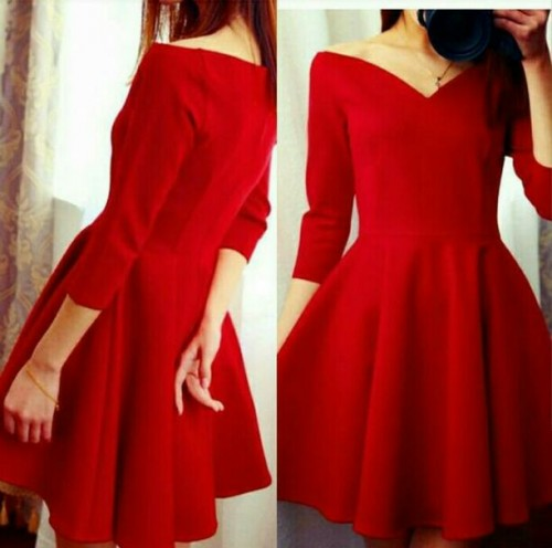 want something similar to this red bare shoulder skater dress. - SeenIt