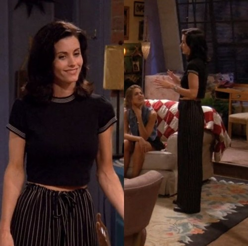 need a similar black crop top with striped pants outfit - SeenIt