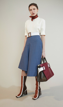 White top, colour blocked leather boots, checkered high waist skirt and white belt only! - SeenIt