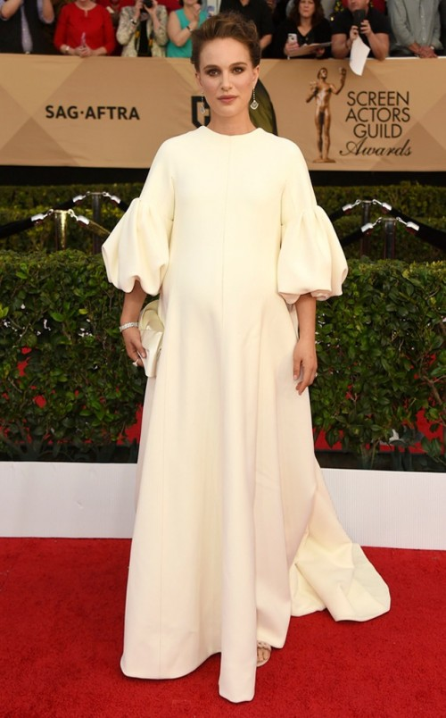 Natalie Portman in a cream bell sleeves Dior gown at the SAG Awards 2017. - SeenIt