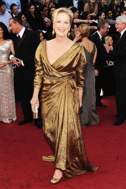 Meryl Streep in Lanvin gold tone gown at the Oscars 2012. - SeenIt