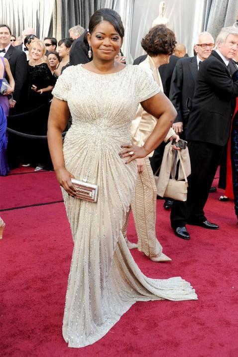 Octavia Spencer in Tadashi Shoji sequin gown at the Oscars 2012. - SeenIt