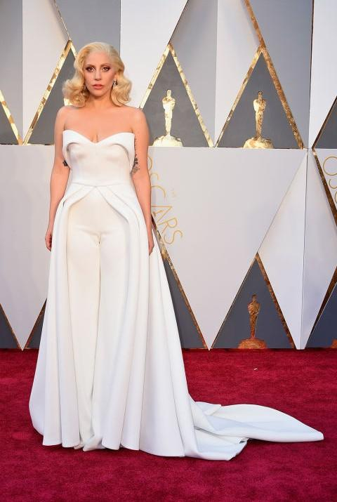 Lady Gaga in Brandon Maxwell white ensemble at the Oscars 2016. - SeenIt