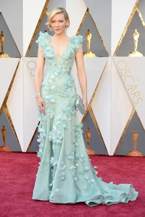 Cate Blanchett in Armani Prive mint green floral embellished gown at the Oscars 2016. - SeenIt