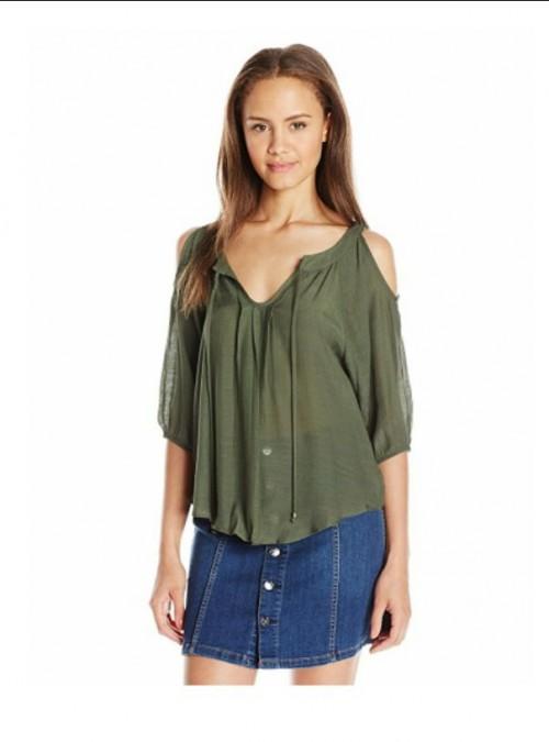 need a similar green cold shoulder top - SeenIt