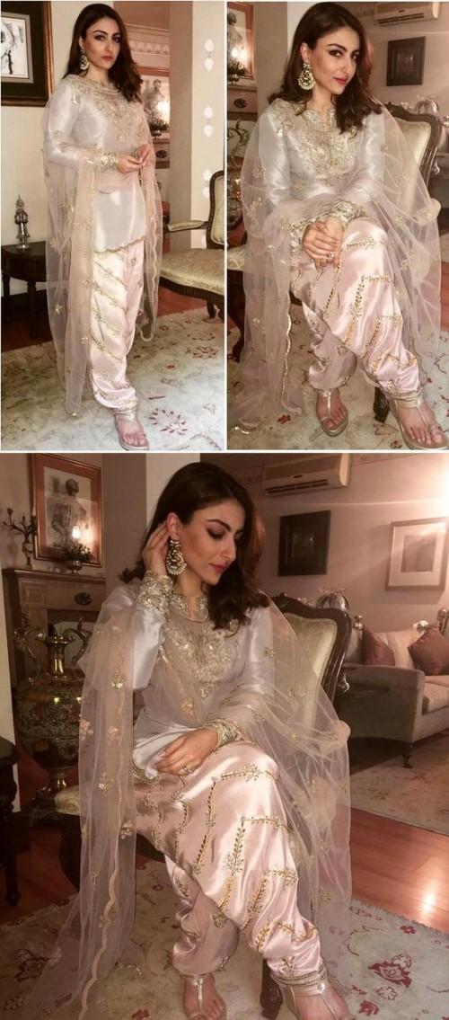 Soha in ethinc wear. Cream embellished patiala kurta. What do you think of her look?? - SeenIt
