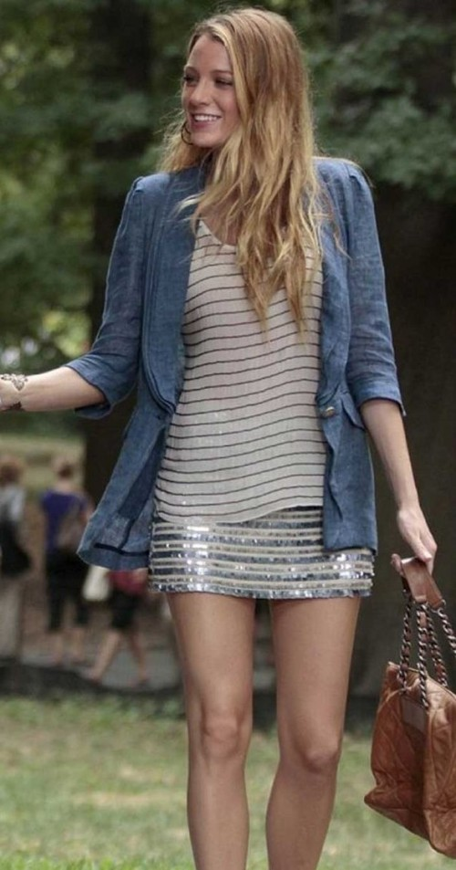 want something similar to blake's outfit with denim jacket and silver shimmer mini skirt - SeenIt