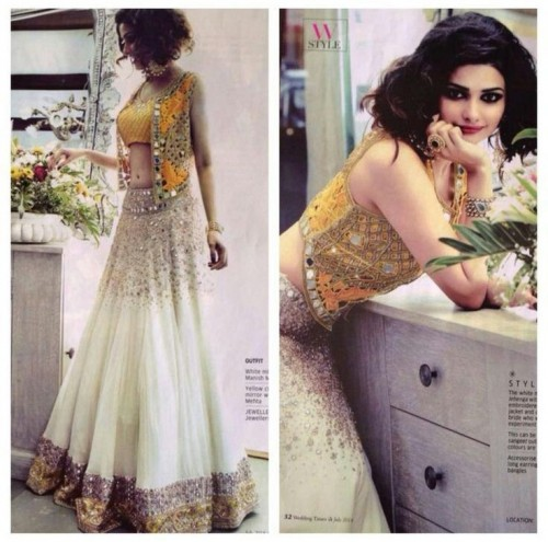 What a colour combo!! Love Prachi's yellow and white embellished lehenga.. - SeenIt