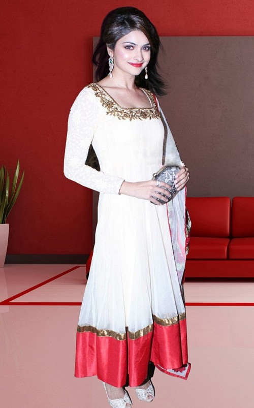 Can you find me this Prachi's white and red anarkali ASAP?? - SeenIt