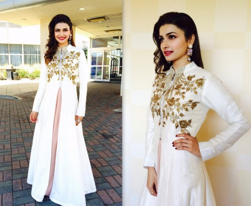 Prachi in white flared embroidered maxi jacket...Pretty! Isn't she? - SeenIt