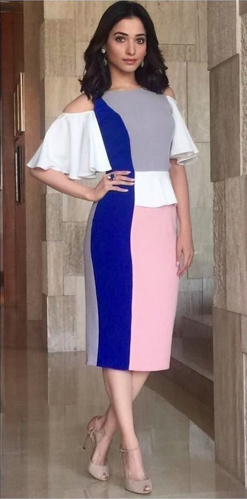 How do you like Tamannah's color block cold shoulder midi dress? - SeenIt