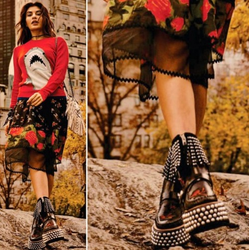 The black studded shoes that Jacqueline was wearing during Grazia's photoshoot... - SeenIt