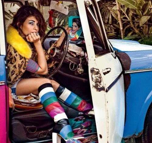 A peek into Jacqueline's life through her instagram showed this rainbow color knee-length boot - SeenIt