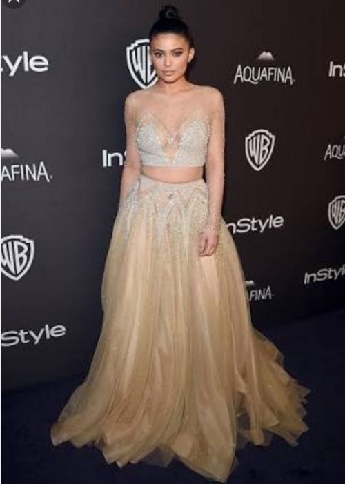 Want Kylie Jenner's beaded champagne gown from Indian websites - SeenIt