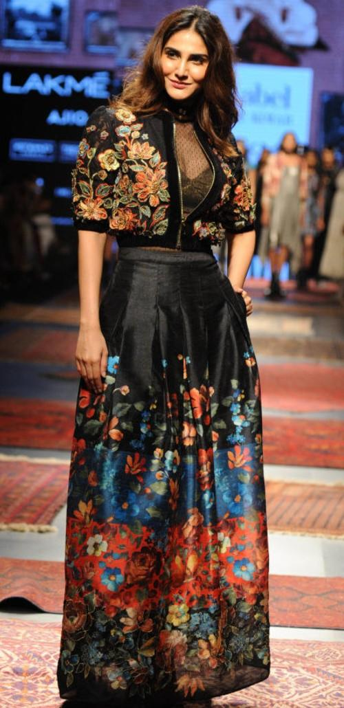 Yay or Nay? Vaani Kapoor walked the ramp as a showstopper for Ritu Kumar in a floral jacket and skirt outfit at the Lakme Fashion Week - SeenIt