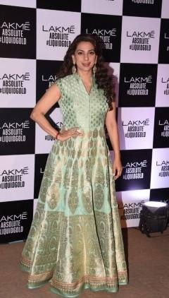 Yay or Nay? Juhi Chawla attended the Lakme Fashion Week Finale and looked resplendent in a green ethnic outfit - SeenIt