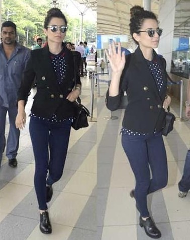 Something similar to the dark blue jeans that Kangana Ranaut was wearing at the airport - SeenIt