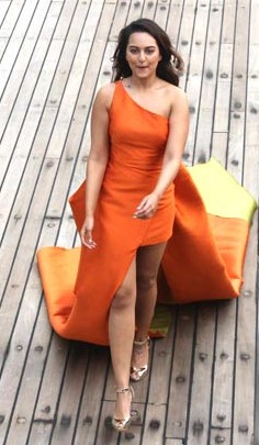 Yay or Nay? Sonakshi Sinha in this one shoulder orange slit dress - SeenIt